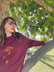 My Star Burgundy Printed Sweatshirt Women