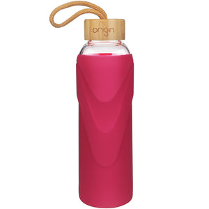 ORIGIN - Narrow Mouth Glass Water Bottle with Protective Silicone Sleeve and Bamboo Lid - Dishwasher Safe