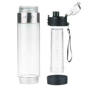 Origin - Tritan Fruit Infuser Water Bottle, BPA-Free, Flip Tip Lid, Great for Sports, Travel and Fits in Car Cup Holder, Leak Proof Design, Easy to Clean, Opens on Both Ends, 24 oz