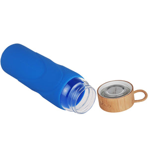 ORIGIN WIDEMOUTH Glass Water Bottle With Protective Silicone Sleeve and Bamboo Lid - Dishwasher Safe
