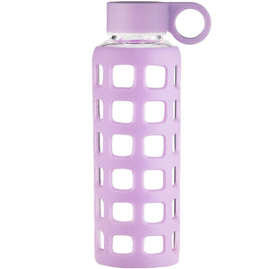 ORIGIN Borosilicate Glass Water Bottle with Fun Square Silicone Sleeve and Leak Proof Lid - Dishwasher Safe