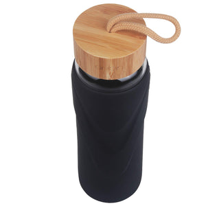 ORIGIN - WIDEMOUTH Glass Water Bottle With Protective Silicone Sleeve and Bamboo Lid - Dishwasher Safe
