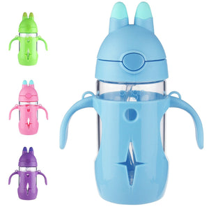 Origin Kids Glass Water Bottle Leak-Proof Flip Cap Lid w/ Protective Plastic Bunny Rabbit Sippy Cup Body with Handles and Silicone Straw | 10 oz