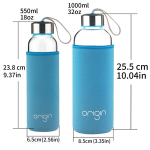 ORIGIN 100% Borosilicate Glass Water Bottle With Protective Neoprene Sleeve and Leak-Proof Stainless Steel Lid | Dishwasher Safe