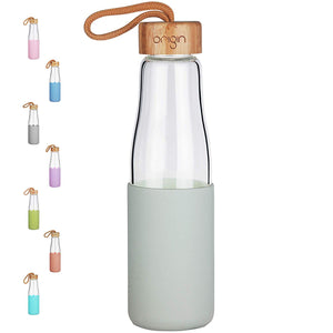 Origin - Borosilicate Glass Water Bottle, Best BPA-Free and Modern Bottle with Protective Silicone Sleeve and Bamboo Lid - Dishwasher Safe