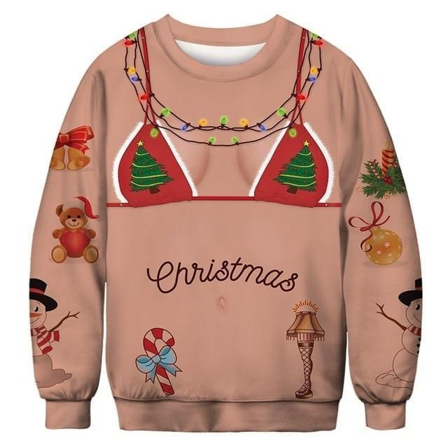 3D Apperal Store Pullovers AA30004 / M Unisex Men Women 2019 Ugly Christmas Sweater Vacation Santa Elf Funny Christmas Fake Hair Jumper Autumn Winter Tops Clothing