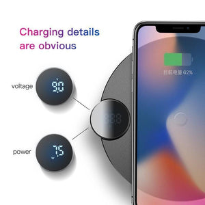 BASEUS Official Store Wireless Chargers BLACK PWR CHARGE™ LCD Display Qi Wireless Charger