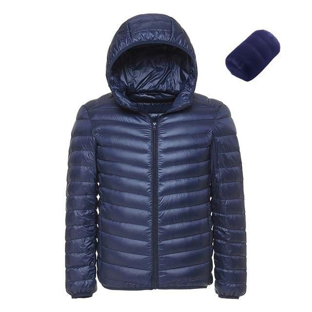 Bruce Lee Brand Store Down Jackets Blue / L Men's Lightweight Water-Resistant Packable Hooded Down Jacket