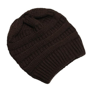 Clothing to You Skullies & Beanies Brown With Tag FunkyCC™ Ponytail Beanie
