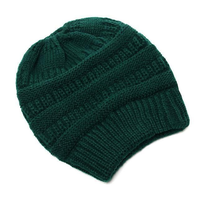 Clothing to You Skullies & Beanies Dark Green With Tag FunkyCC™ Ponytail Beanie