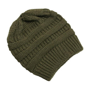 Clothing to You Skullies & Beanies Olive Green With Tag FunkyCC™ Ponytail Beanie