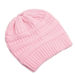Clothing to You Skullies & Beanies Pink With Tag FunkyCC™ Ponytail Beanie