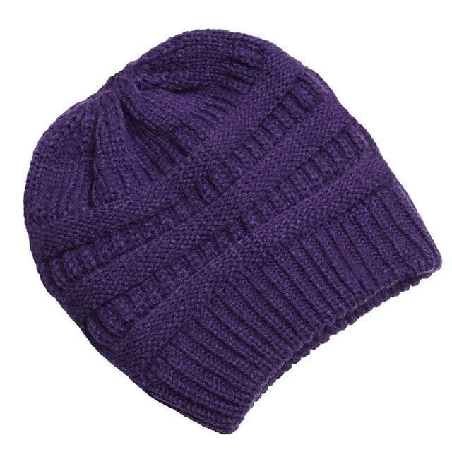 Clothing to You Skullies & Beanies Purple With Tag FunkyCC™ Ponytail Beanie