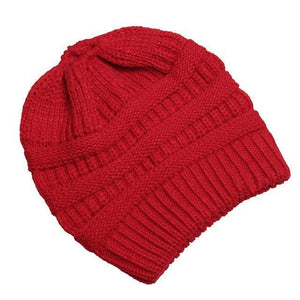 Clothing to You Skullies & Beanies Red With Tag FunkyCC™ Ponytail Beanie