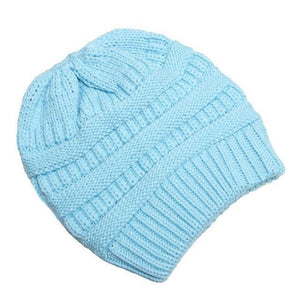 Clothing to You Skullies & Beanies Sky Blue With Tag FunkyCC™ Ponytail Beanie