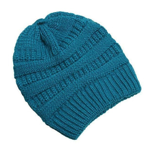 Clothing to You Skullies & Beanies Turquoise With Tag FunkyCC™ Ponytail Beanie