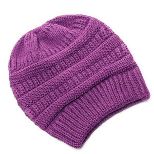 Clothing to You Skullies & Beanies Violet With Tag FunkyCC™ Ponytail Beanie