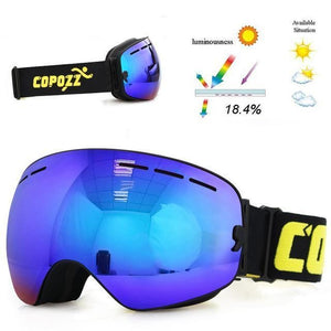 copozz Official Store Skiing Eyewear Blue Lens Black Fram CPZ™ Anti-fog UV400 Ski Goggles