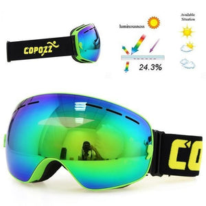 copozz Official Store Skiing Eyewear Frame Green CPZ™ Anti-fog UV400 Ski Goggles