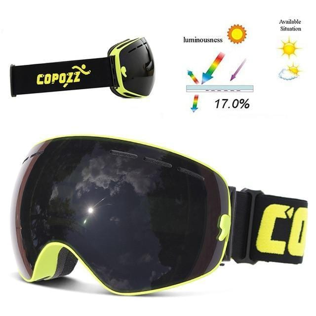 copozz Official Store Skiing Eyewear Green Fra Black Lens CPZ™ Anti-fog UV400 Ski Goggles