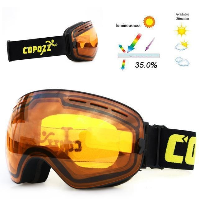 copozz Official Store Skiing Eyewear Orange and Black CPZ™ Anti-fog UV400 Ski Goggles