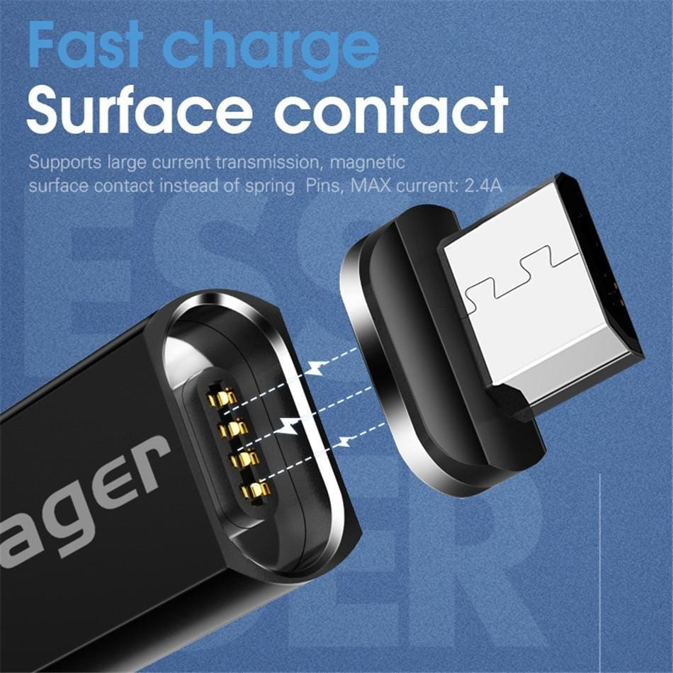 ESSAGER Official Store Mobile Phone Cables Black IOS Cable / 100cm Magnetic USB Fast Charging Cable