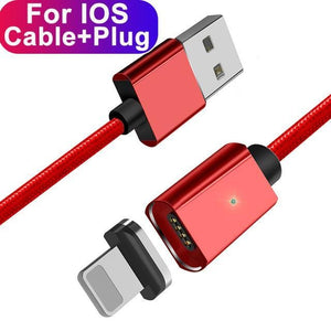 ESSAGER Official Store Mobile Phone Cables Red IOS Cable / 100cm Magnetic USB Fast Charging Cable
