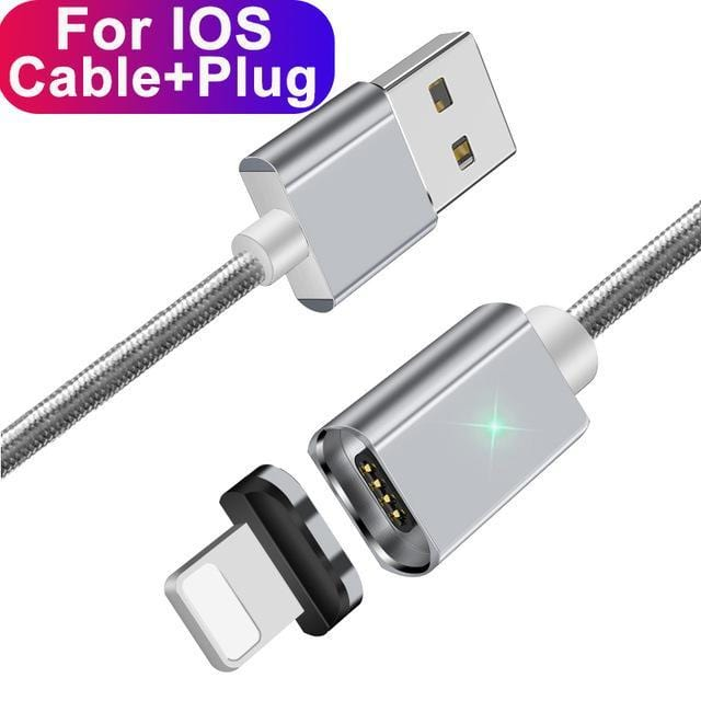 ESSAGER Official Store Mobile Phone Cables Silver IOS Cable / 100cm Magnetic USB Fast Charging Cable