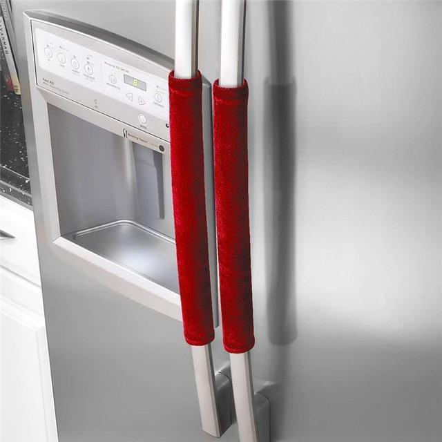 Foxsmarts Red 2PCS Refrigerator Velvet Door Handle Cover Decor Handles Kitchen Antiskid Protector Gloves for Fridge Oven Keep Off Fingerprints
