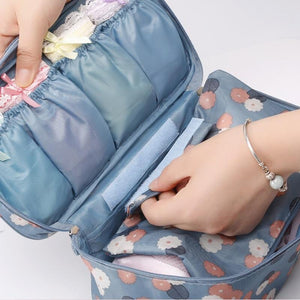 IHAD Official Store Storage Bags Blue flower Lingerie Organizer Travel Bag