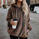 Women's Fuzzy Casual Loose Oversized Sweatshirt Hoodie