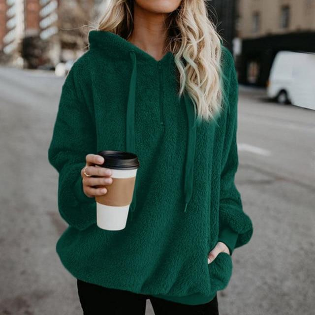 Shop4654005 Store Hoodies Green / S Women's Fuzzy Casual Loose Oversized Sweatshirt Hoodie