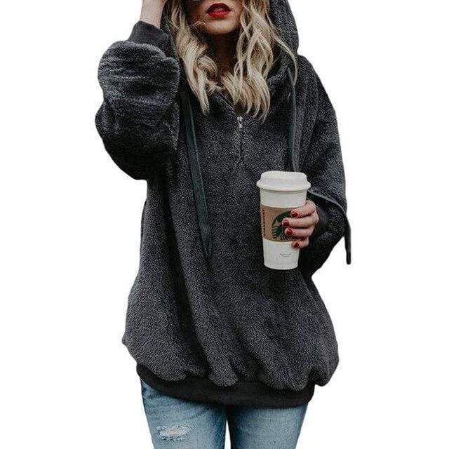 Shop4654005 Store Hoodies Grey02 / S Women's Fuzzy Casual Loose Oversized Sweatshirt Hoodie