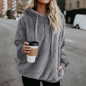 Shop4654005 Store Hoodies Grey03 / S Women's Fuzzy Casual Loose Oversized Sweatshirt Hoodie