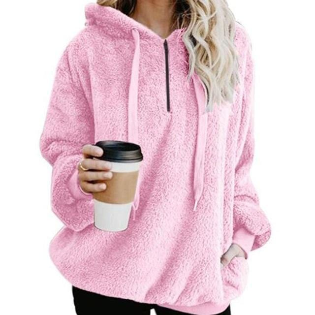 Shop4654005 Store Hoodies Pink / S Women's Fuzzy Casual Loose Oversized Sweatshirt Hoodie