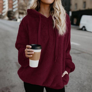 Shop4654005 Store Hoodies Red / S Women's Fuzzy Casual Loose Oversized Sweatshirt Hoodie
