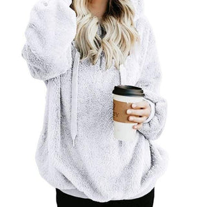 Shop4654005 Store Hoodies White / S Women's Fuzzy Casual Loose Oversized Sweatshirt Hoodie