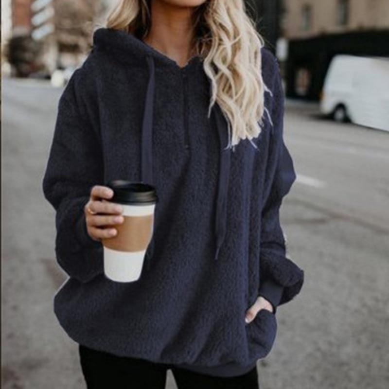 Shop4654005 Store Hoodies Women's Fuzzy Casual Loose Oversized Sweatshirt Hoodie