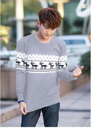 SMTHMA Official Store Pullovers Gray For Him / S Cute Christmas Matching Couple Sweaters