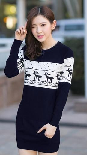 SMTHMA Official Store Pullovers Navy Blue For Her / S Cute Christmas Matching Couple Sweaters