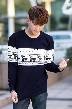 SMTHMA Official Store Pullovers Navy Blue For Him / S Cute Christmas Matching Couple Sweaters