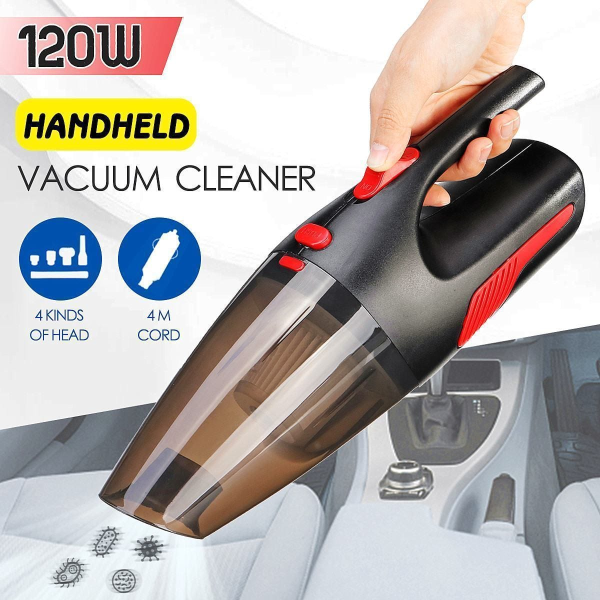 WarmHome Appliance Shop Vacuum Cleaners TURBINEX Portable Handheld Car Vacuum Cleaner 120W 12V