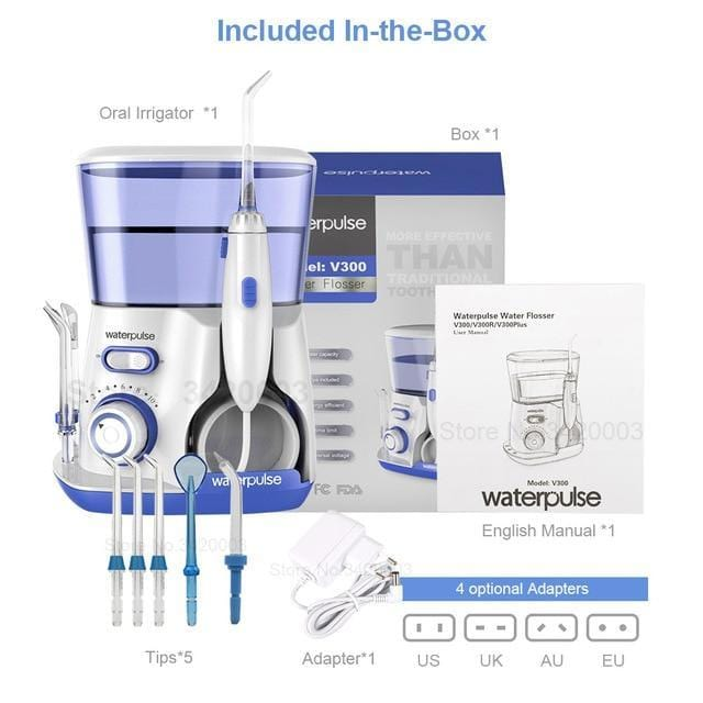 waterpulse Official Store Oral Irrigators Poland / 5 Tips Blue / US 800ml Dental Water Flosser