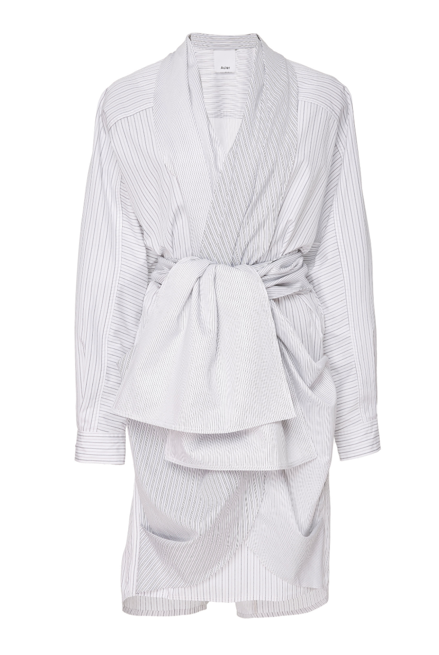 Acler Lincoln Shirt Dress - Grey Stripe