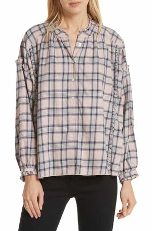 The Great Handsome Button Up Top - Pink/Navy
