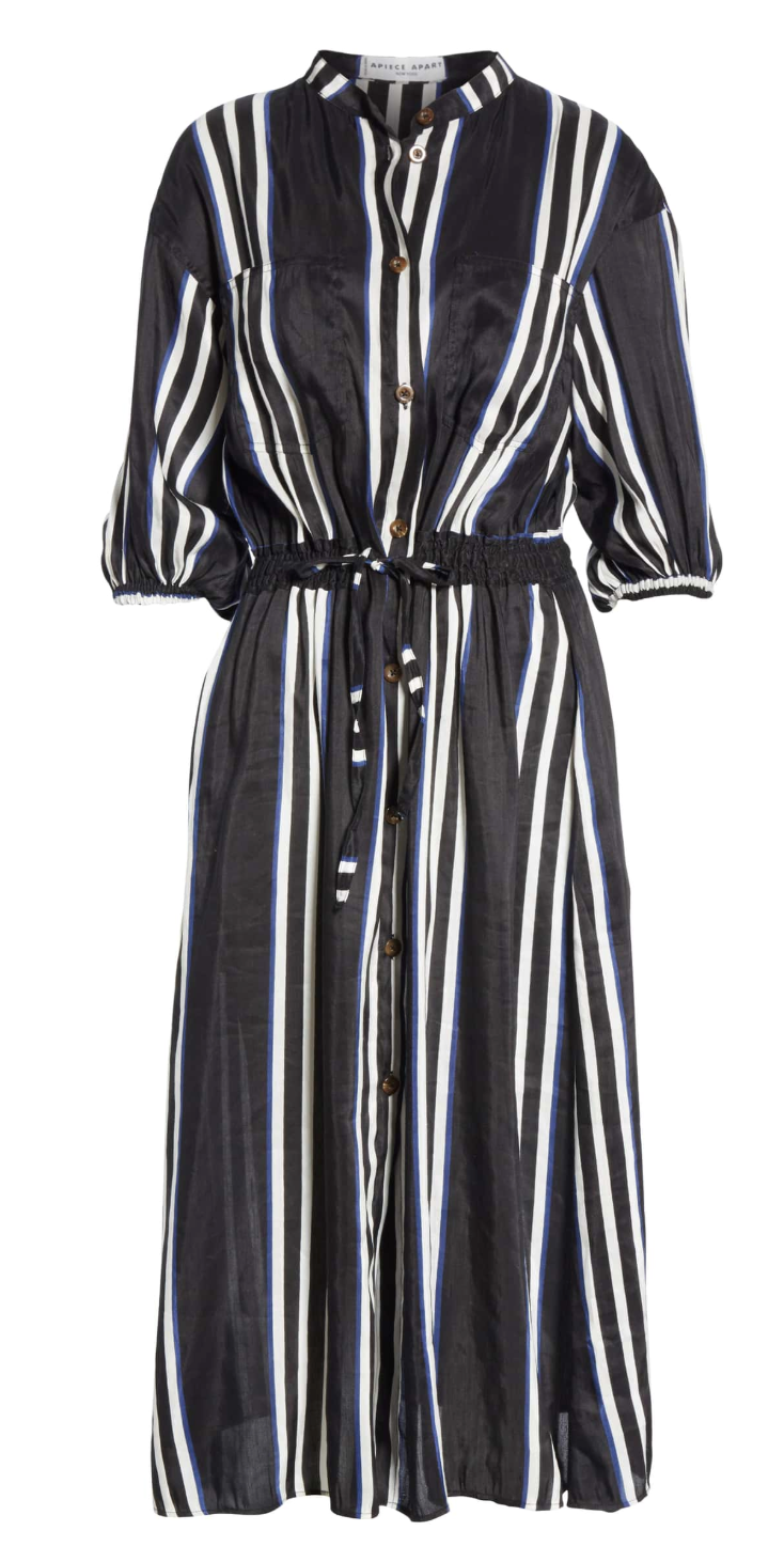 Apiece Apart Kimono Shirt Dress - Prado Stripe
