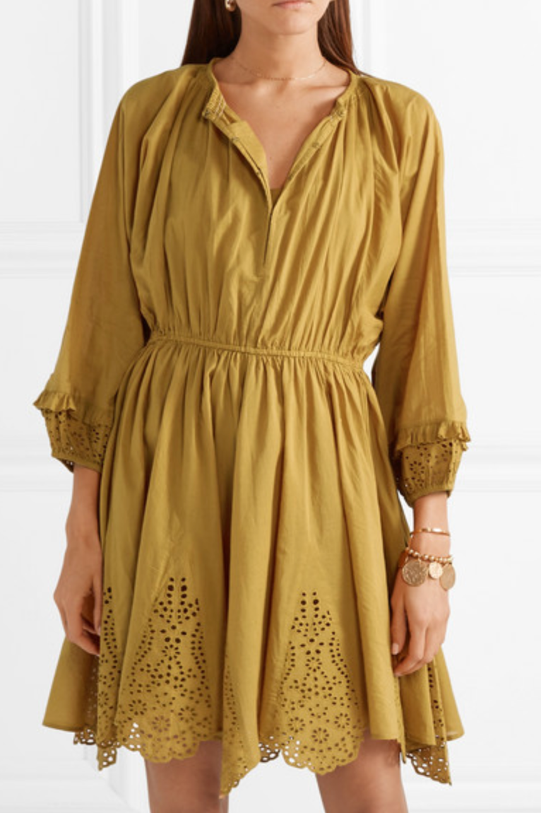 Apiece Apart Vereda Eyelet Mini Dress - Ochre