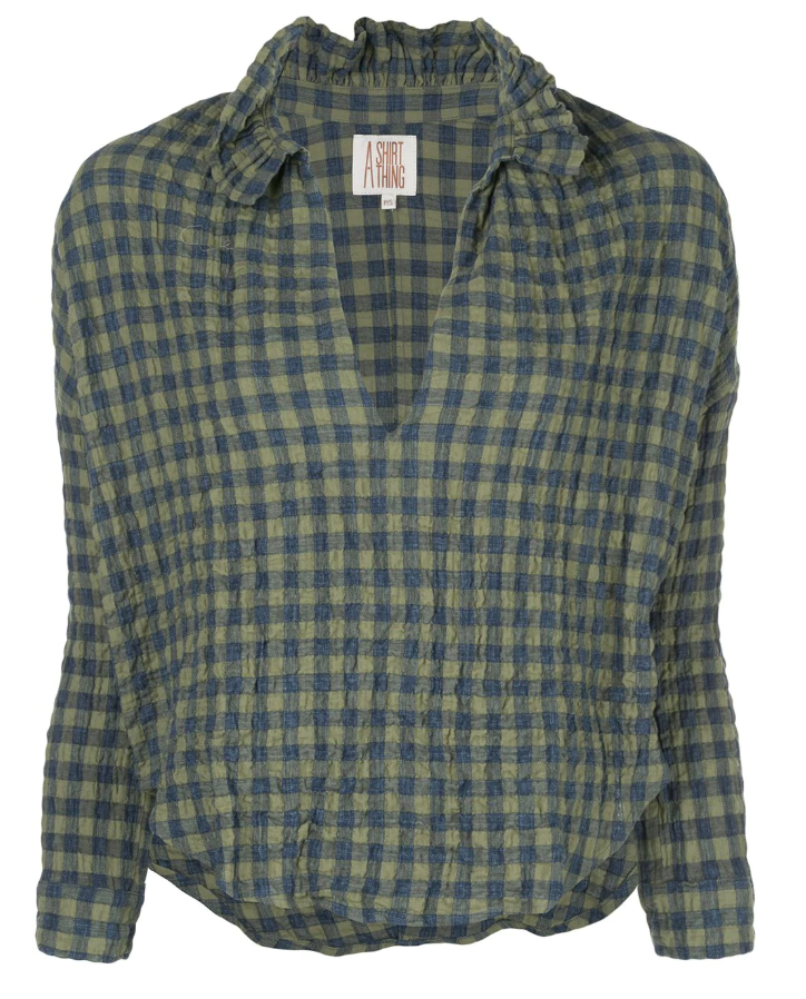 A Shirt Thing Penelope Top- Green Gingham