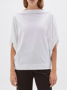 Bassike Boatneck Circle Top - White