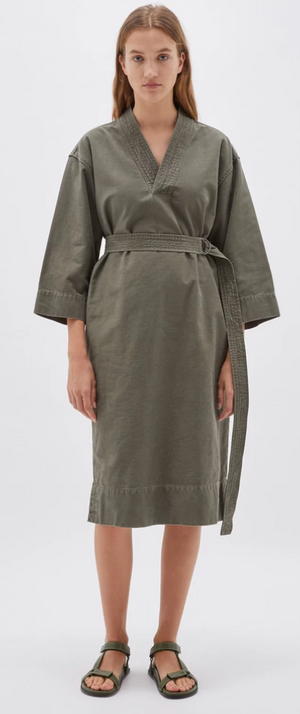 Bassike Cotton Kimono Dress - Military